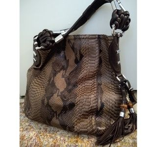 72b1785cf5a6 Gucci · Authentic GUCCI Python leagher bamboo hobo bag